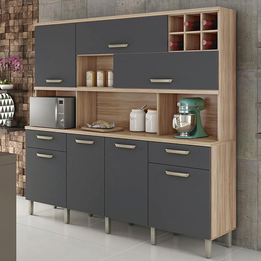 Armário de Cozinha 7 Portas 2 Gavetas Master Nesher Móveis Cedro/Grafite
