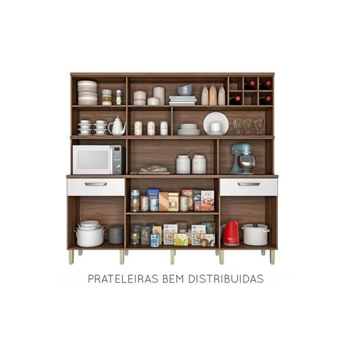 Armário de Cozinha 7 Portas 2 Gavetas Master Nesher Móveis Nogal/Branco