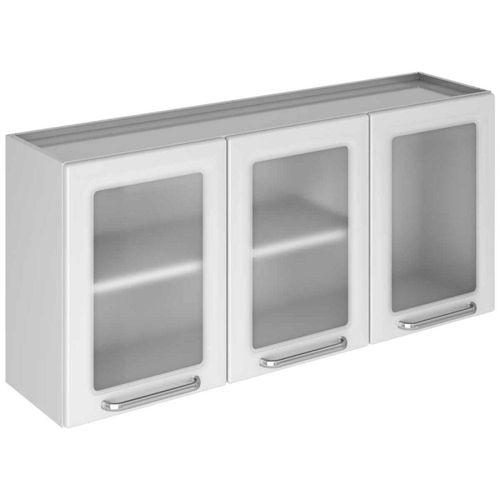 Armário de Cozinha Aéreo para Parede Itatiaia Tarsila 3 Portas de Vidro Branco
