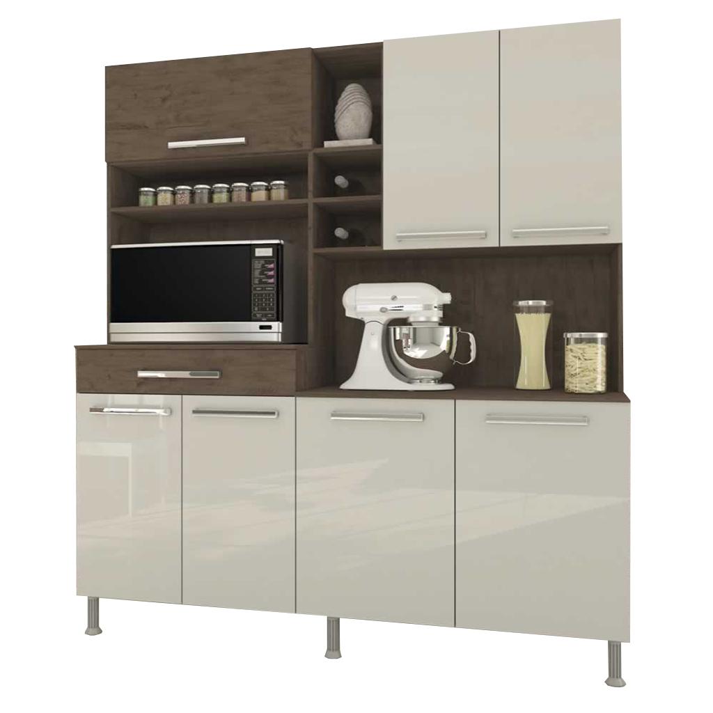 Armário Kit Cozinha Bruna Indekes 7 Portas Noce / Offwhite