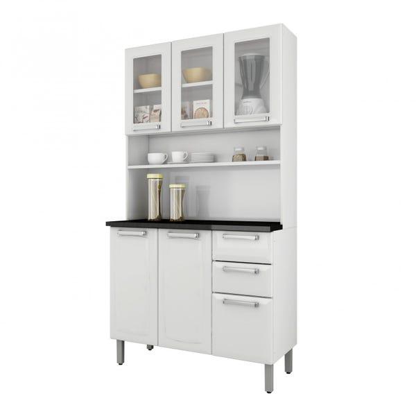 Armário Kit Cozinha Itatiaia Regina 6 Portas (3 portas com Vidro) 2 Gavetas I3VG2-120 Branca