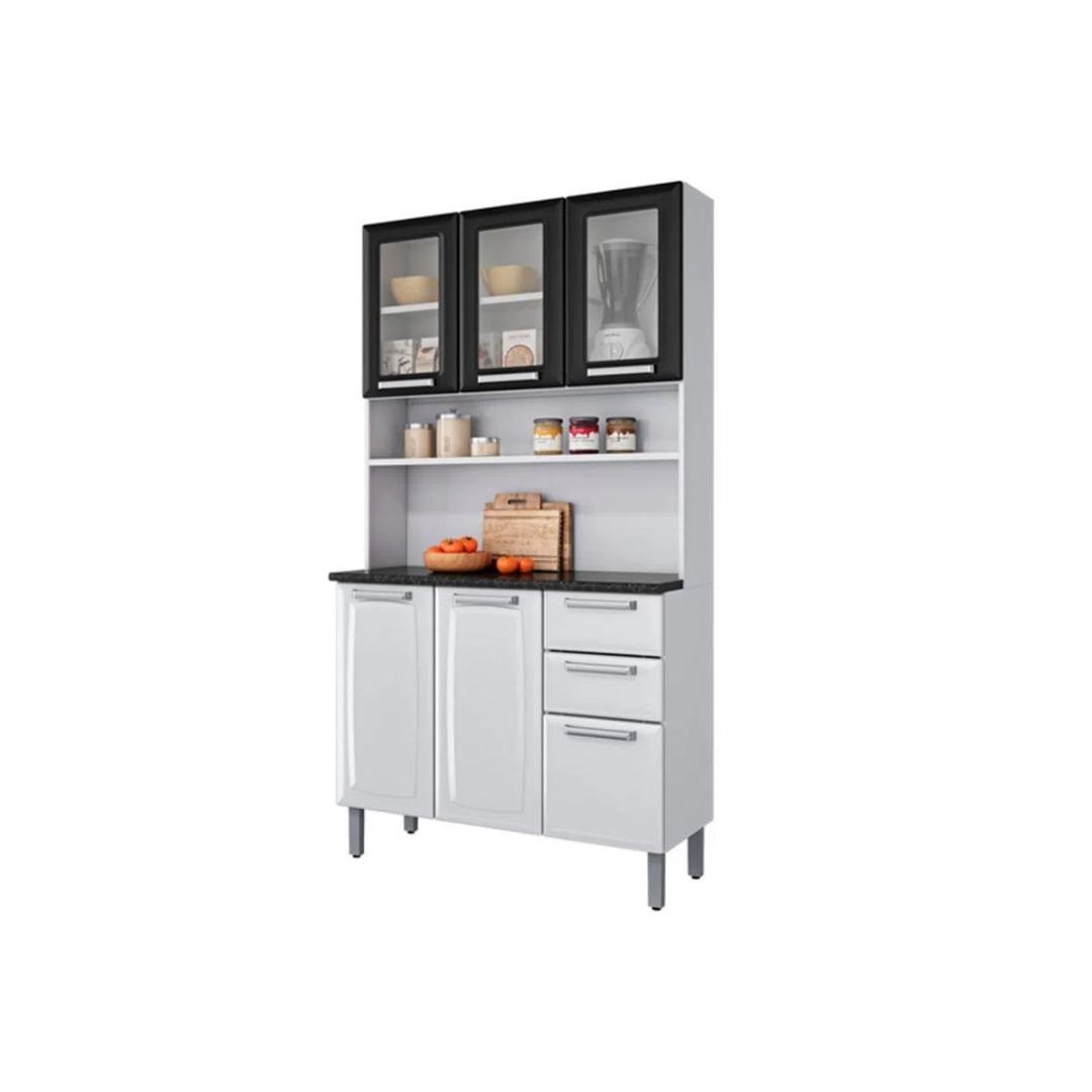 Armário Kit Cozinha Itatiaia Regina 6 Portas (3 portas com Vidro) 2 Gavetas I3VG2-120 Branca/Preto