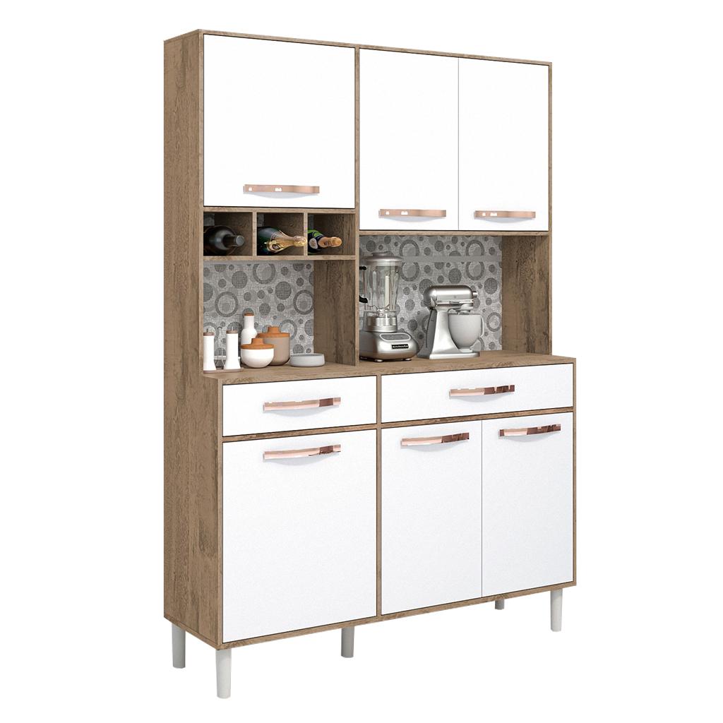 Armário Kit Cozinha Vegas Avelan 6 Portas 2 gavetas Nogol / Off white
