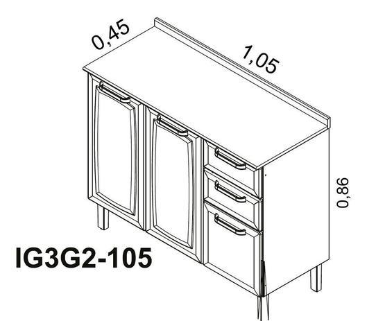 Balcão de Cozinha Itatiaia Luce 2 Portas e 3 Gavetas Branco IG3G2-105
