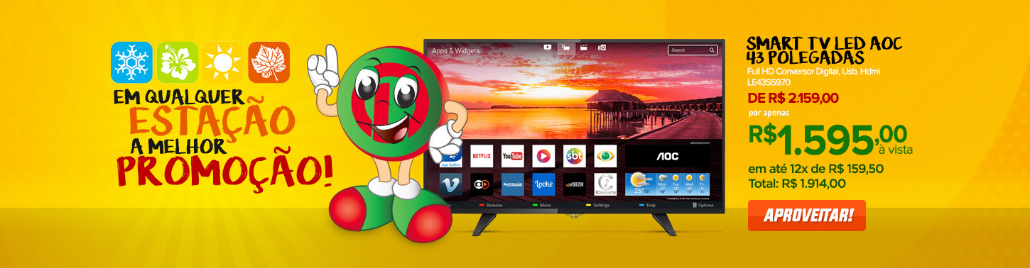 Smart TV Led AOC 43 Polegadas Full HD Conversor Digital,