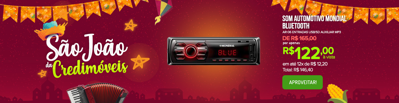 Som Automotivo Mondial AR-06 Entradas USB/SD Auxiliar Bluetooth MP3