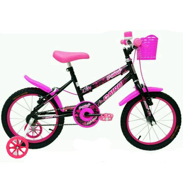Bicicleta Cairu C-High MTB Feminina Infantil Aro 16 Preto/Rosa
