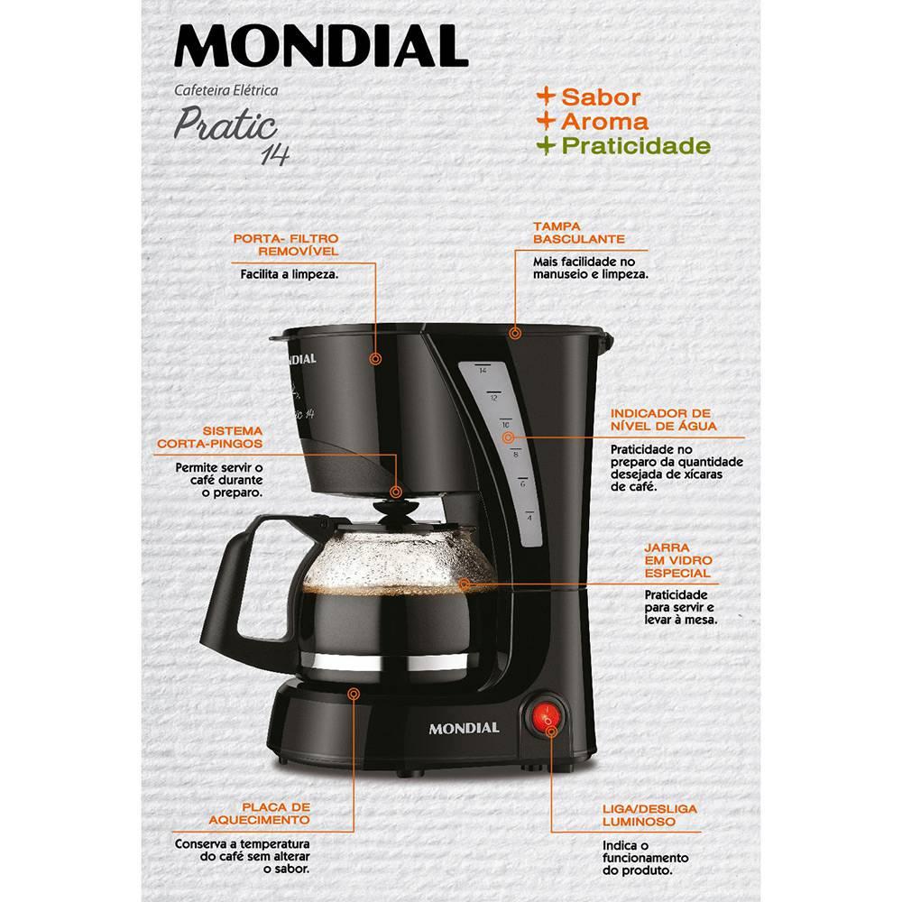 Cafeteira Elétrica Mondial Pratic NC-25 17 Xícaras Preta 220V