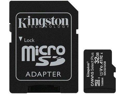 Cartão de Memória 32GB Micro SD Kingston 10 com Adaptador SD Canvas Select Plus SDCS2