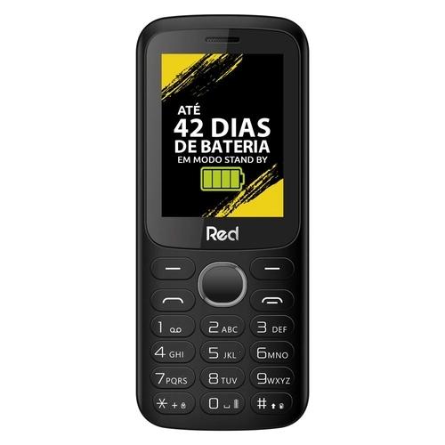 Celular Red Mobile Mega II M010G Tela 2.4 Câmera FM Wireless Vibracall Memória Expansível até 32GB Preto/Vermelho