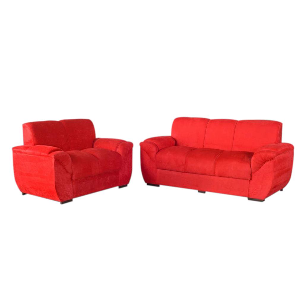 Conjunto de Estofados Carol Design 2 e 3 lugares Revestimento Sued Vermelho
