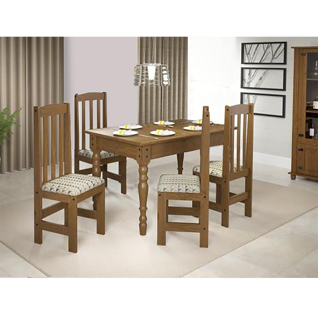 Conjunto de Mesa com 4 Cadeiras de Madeira Kasper Imbuia