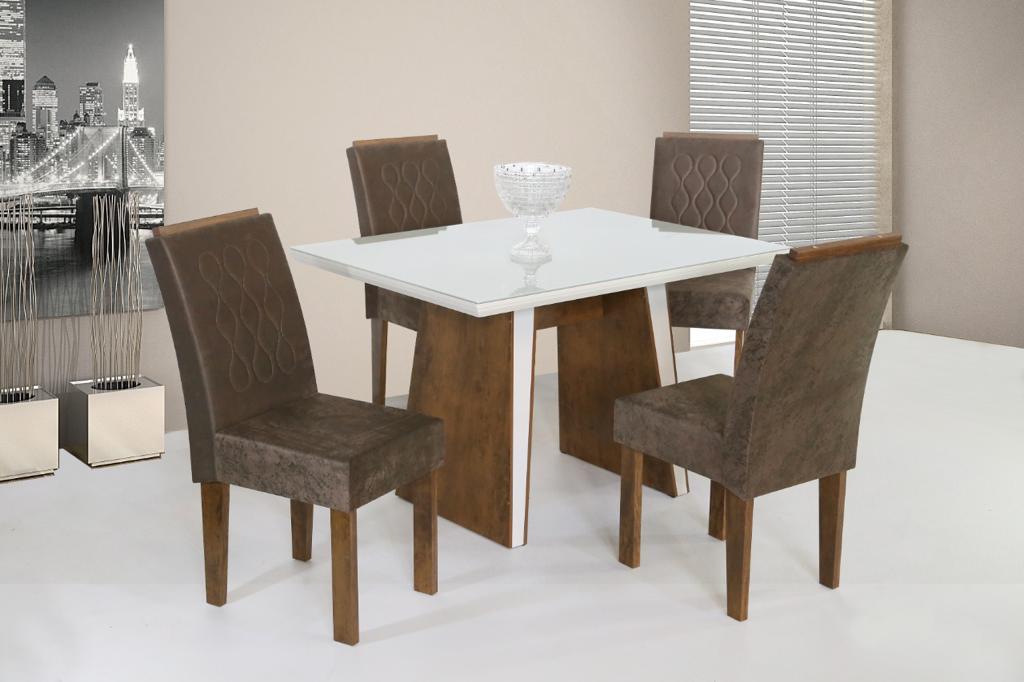 Conjunto de Mesa Retangular com 4 Cadeiras São Carlos Itália com Tampo de Vidro Bronze/Off White