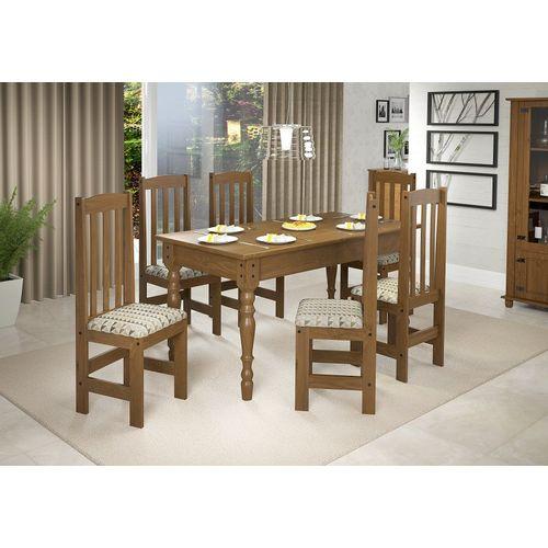 Conjunto de Mesa com 6 Cadeiras de Madeira Kasper Imbuia