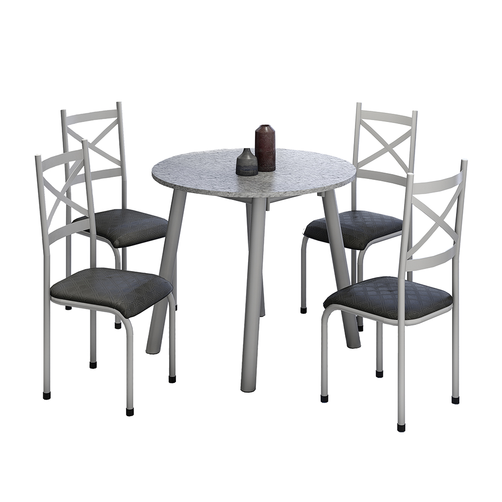 Conjunto de Mesa Cris 2 Mila Tampo Redondo de Granito 4 Cadeiras Cinza