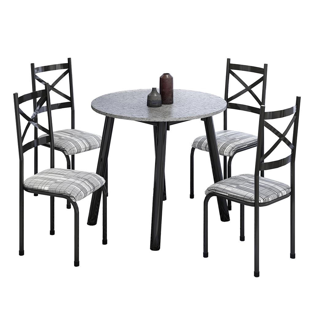 Conjunto de Mesa Cris 2 Mila Tampo Redondo de Granito 4 Cadeiras Preto