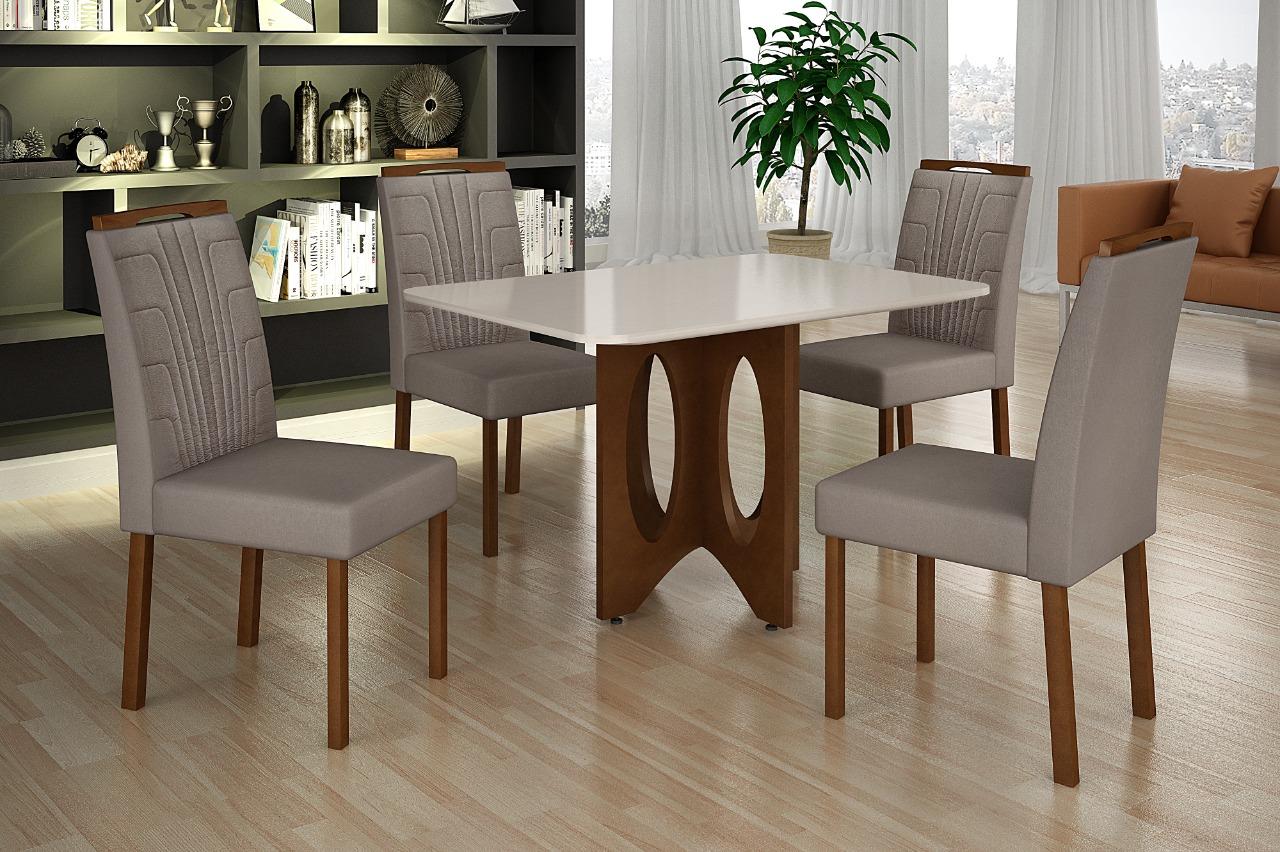 Conjunto de Mesa de Jantar com 4 Cadeiras Minas Decor 120x80 com Tampo de Vidro Imbuia/Off White