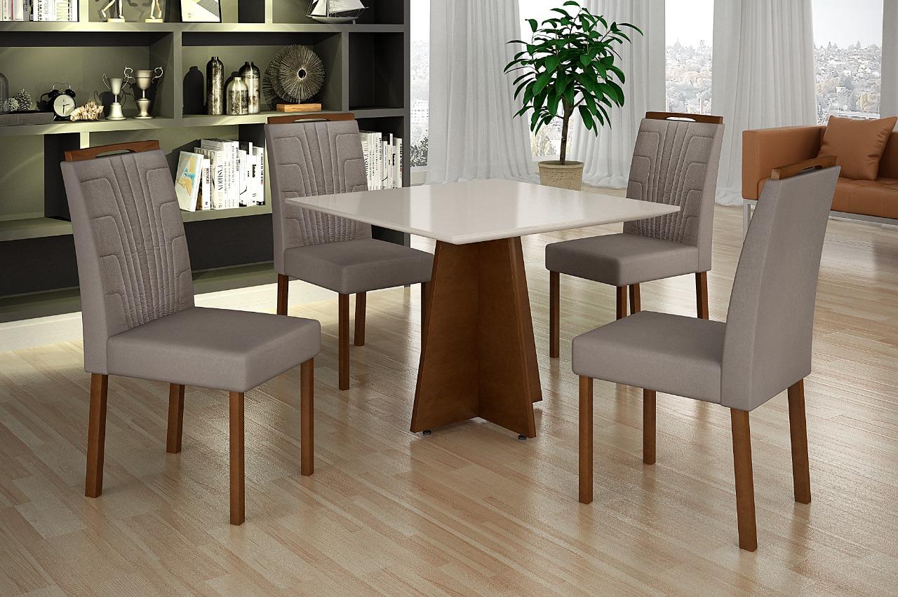 Conjunto de Mesa de Jantar com 4 Cadeiras Minas Decor 90x90 com Tampo de Vidro Imbuia/Off White