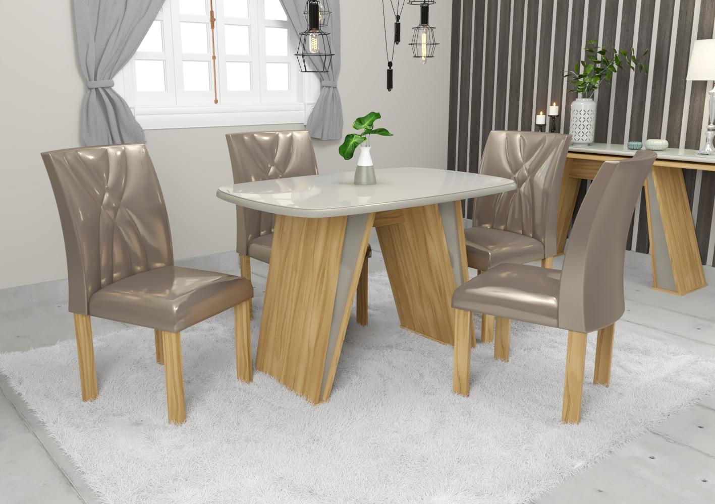 Conjunto de Mesa Elba com 4 Cadeiras Impéria Retangular Avelan Móveis Freijó/Gold