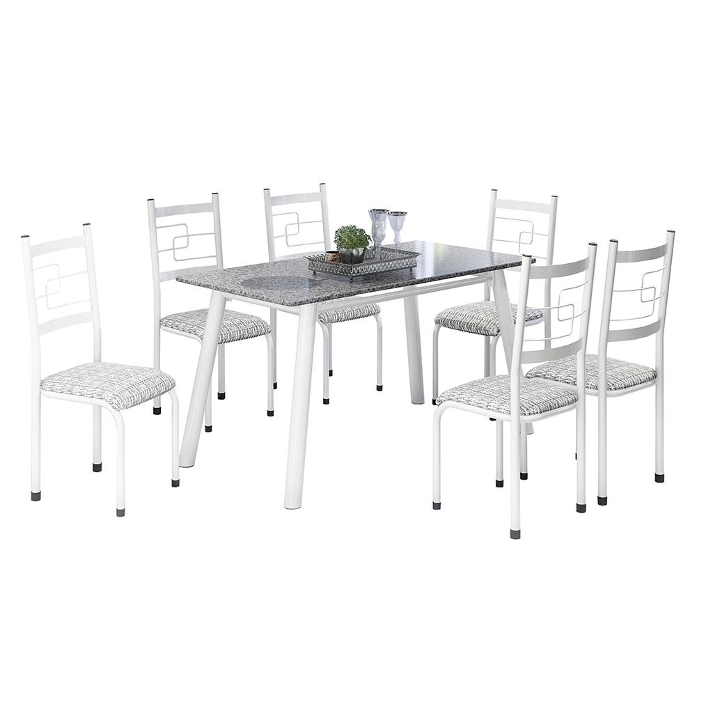 Conjunto de Mesa Elis Mila Tampo Retangular de Granito 150x75cm 6 Cadeiras Branco