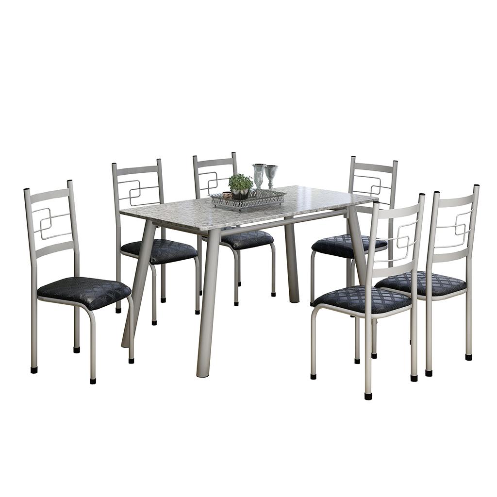 Conjunto de Mesa Elis Mila Tampo Retangular de Granito 150x75cm 6 Cadeiras Cinza