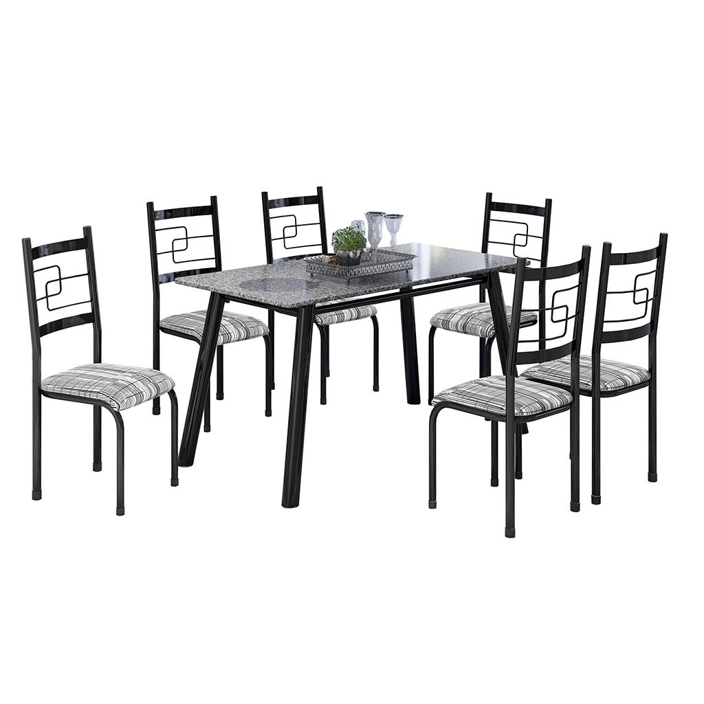 Conjunto de Mesa Elis Mila Tampo Retangular de Granito 150x75cm 6 Cadeiras Preto