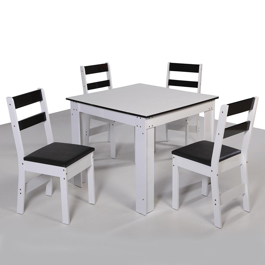 Conjunto de Mesa quadrada com 4 Cadeiras Arezzo São Carlos Branco/Preto