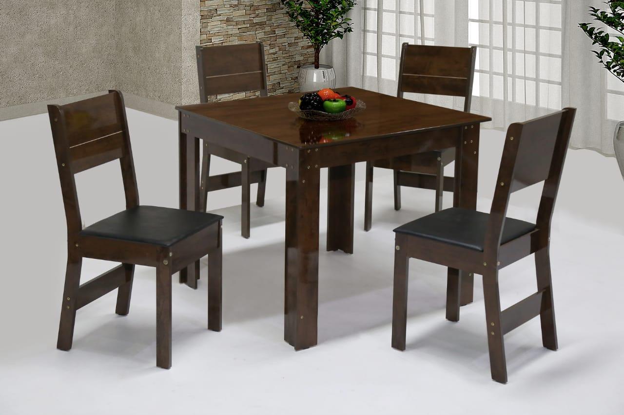 Conjunto de Mesa quadrada com 4 Cadeiras Arezzo São Carlos Café/Demolição