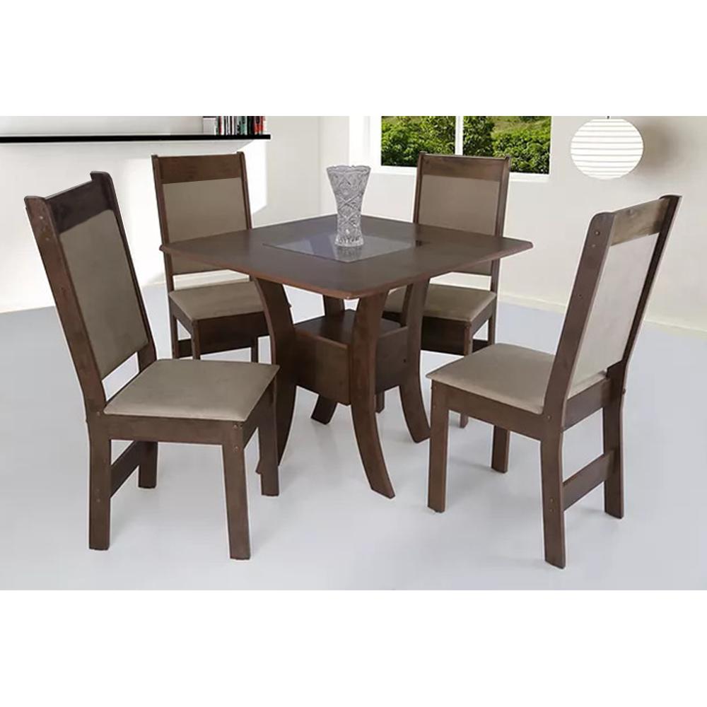 Conjunto de Mesa quadrada São Carlos Priscila 90cm X 90cm com 4 Cadeiras Cedro