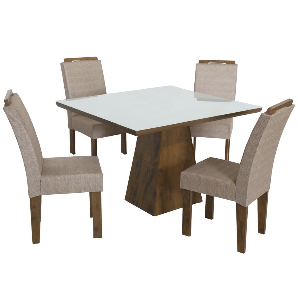 Conjunto de Mesa Quadrado com 4 Cadeiras e Tampo de Vidro Branco São Carlos Florença Bronze/Demolição
