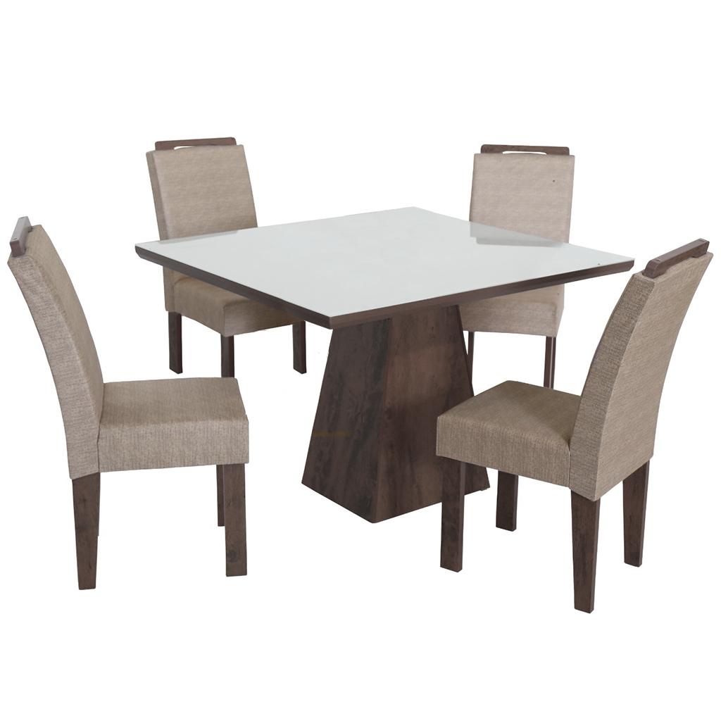 Conjunto de Mesa Quadrado com 4 Cadeiras e Tampo de Vidro Branco São Carlos Florença Café/Demolição