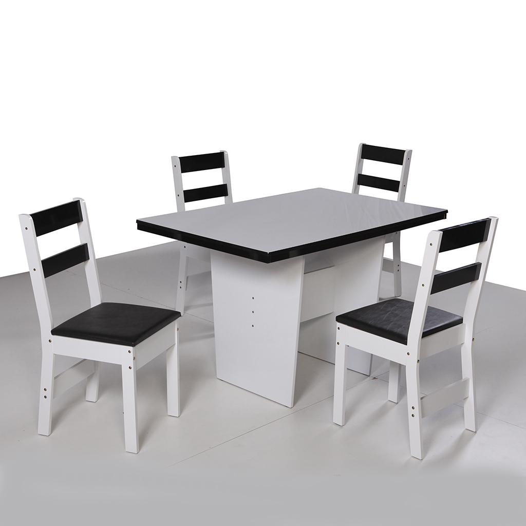 Conjunto de Mesa retangular com 4 Cadeiras Arezzo São Carlos Branco/Preto