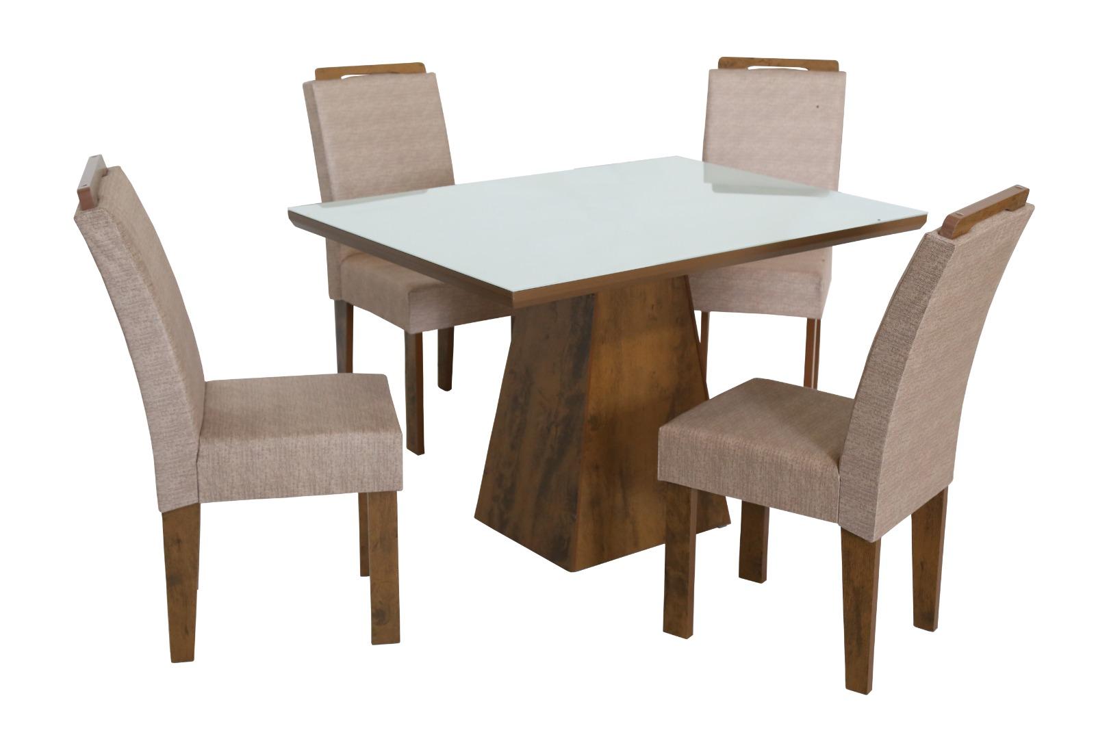 Conjunto de Mesa Retangular com 4 Cadeiras e Tampo de Vidro Branco São Carlos Florença Bronze/Demolição