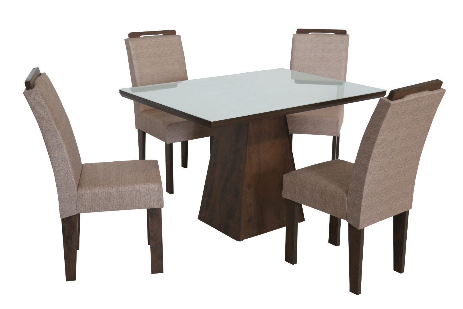Conjunto de Mesa Retangular com 4 Cadeiras e Tampo de Vidro Branco São Carlos Florença Café/Demolição