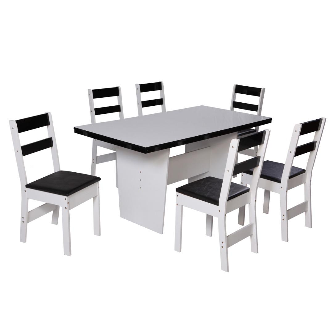 Conjunto de Mesa retangular com 6 Cadeiras Arezzo São Carlos Branco/Preto