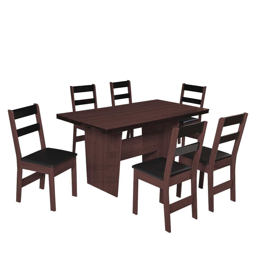 Conjunto de Mesa retangular com 6 Cadeiras Arezzo São Carlos Café/Demolição