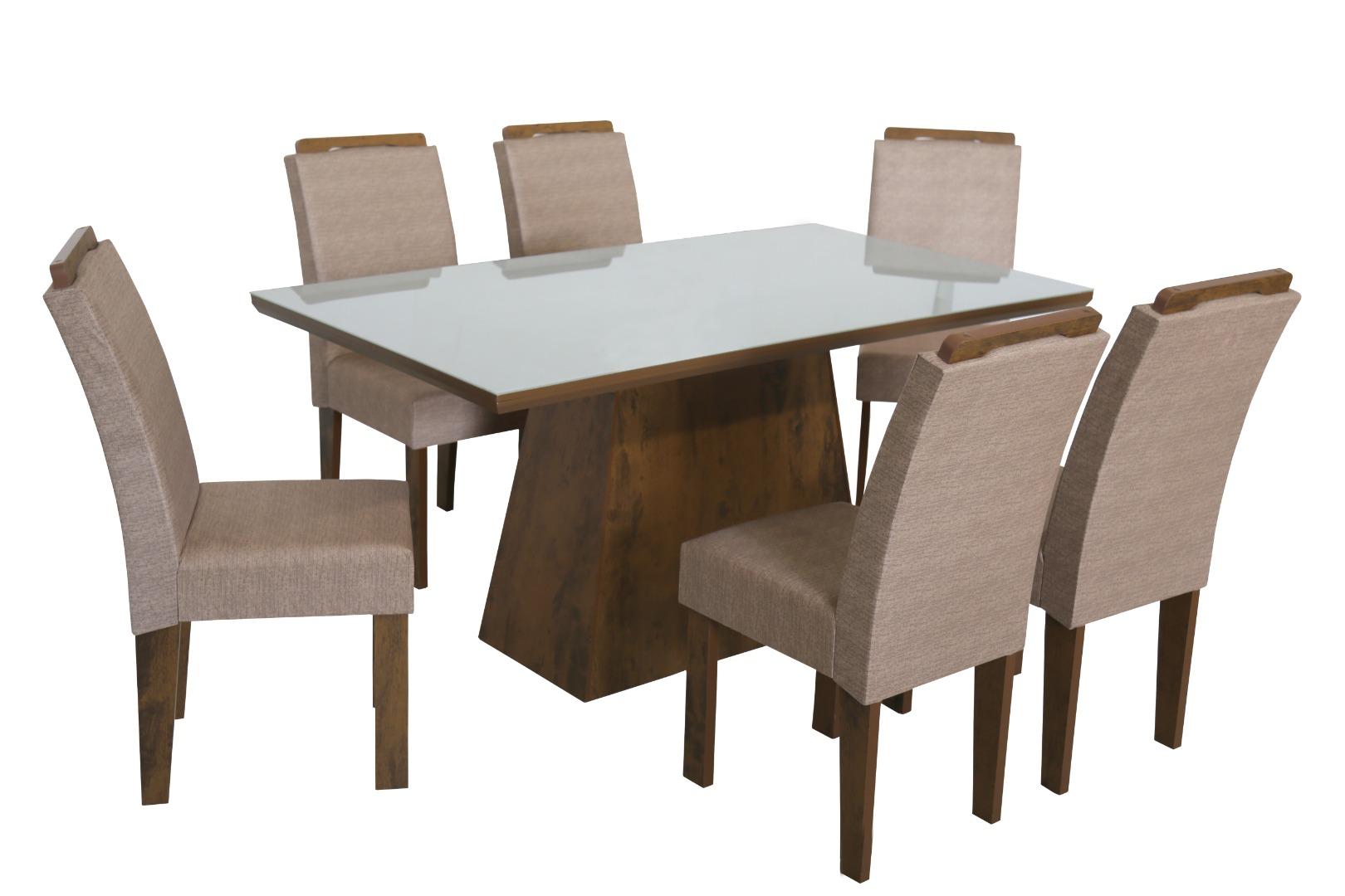 Conjunto de Mesa Retangular com 6 Cadeiras e Tampo de Vidro Branco São Carlos Florença Bronze/Demolição