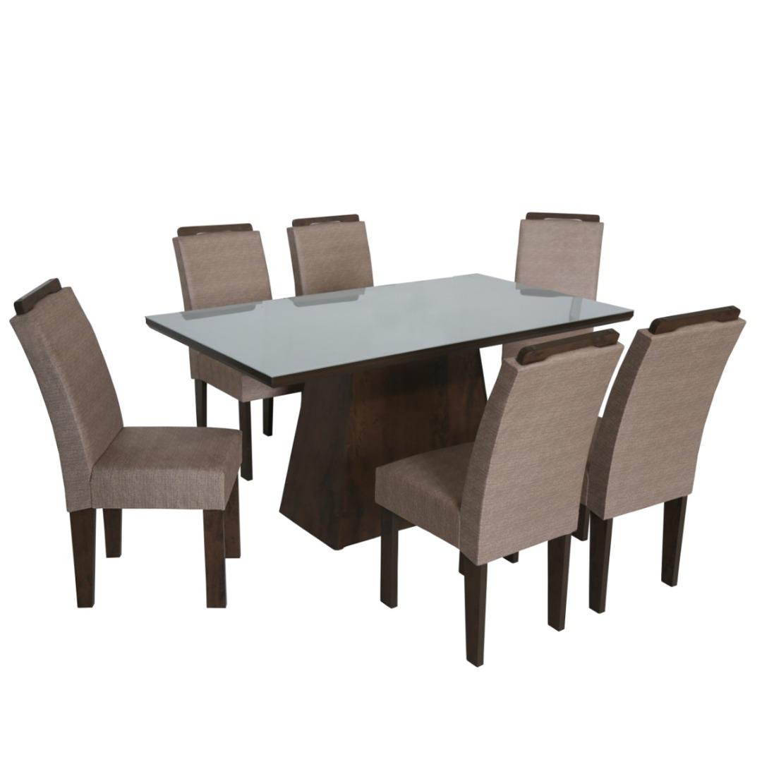 Conjunto de Mesa Retangular com 6 Cadeiras e Tampo de Vidro Branco São Carlos Florença Café/Demolição