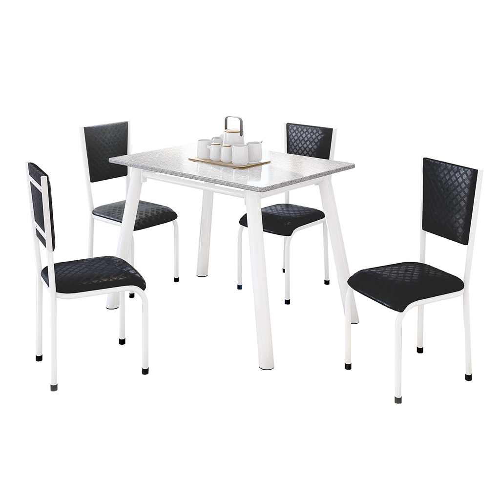 Conjunto de Mesa Valentina Mila Tampo Retangular de Granito 120x75cm 4 Cadeiras Branco