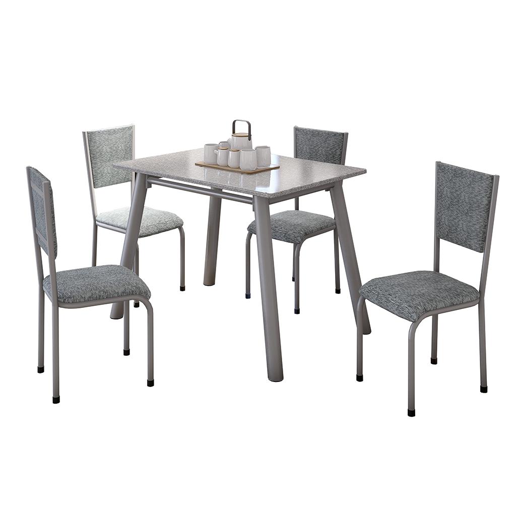 Conjunto de Mesa Valentina Mila Tampo Retangular de Granito 120x75cm 4 Cadeiras Cinza