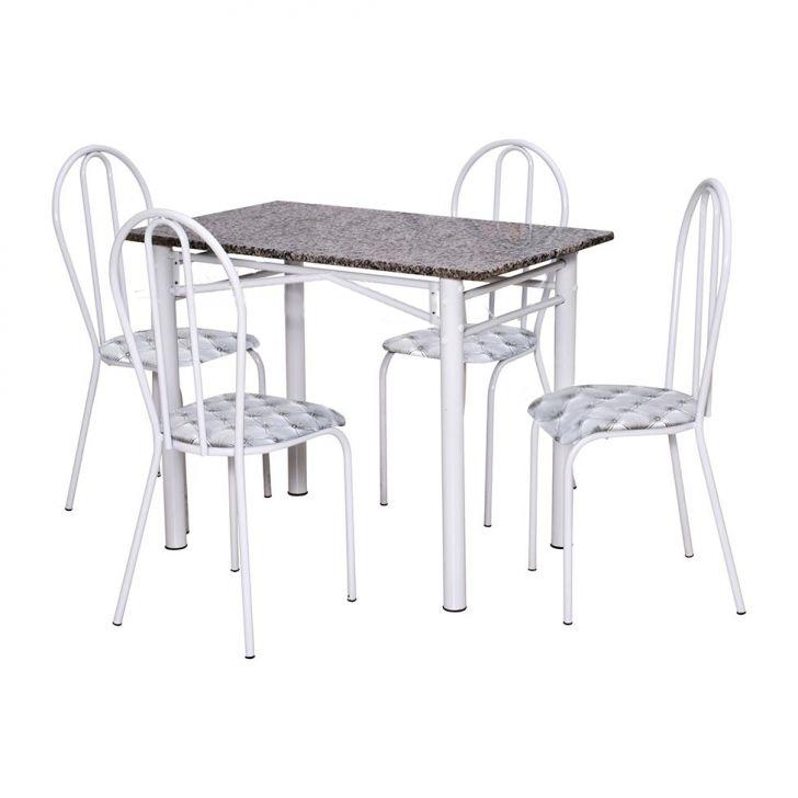 Conjunto Marazul Jometal Mesa com tampo Retangular em Granito 4 Cadeiras Branco