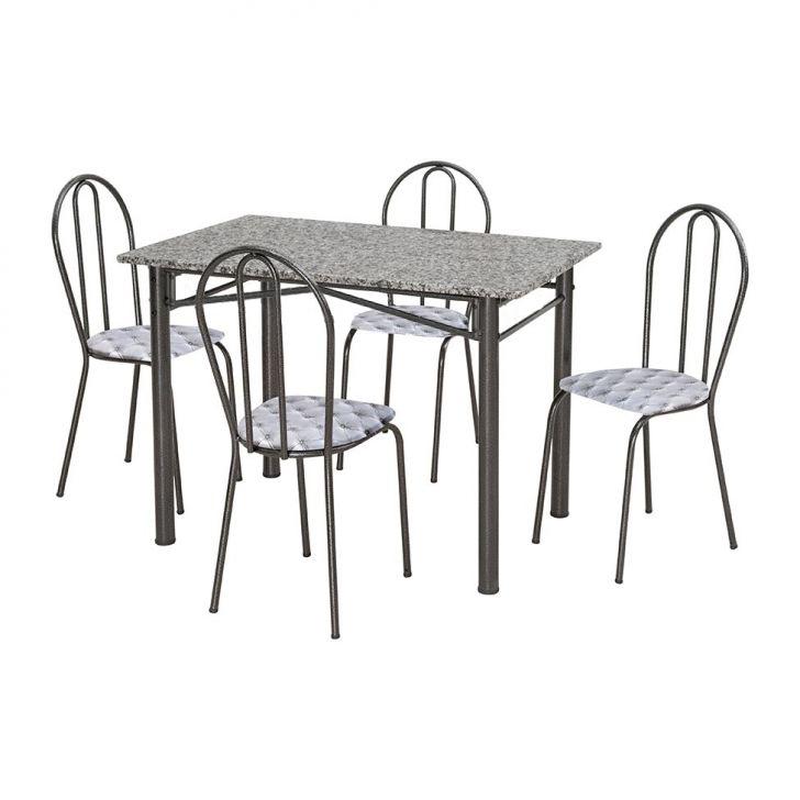 Conjunto Marazul Jometal Mesa com tampo Retangular em Granito 4 Cadeiras Preta
