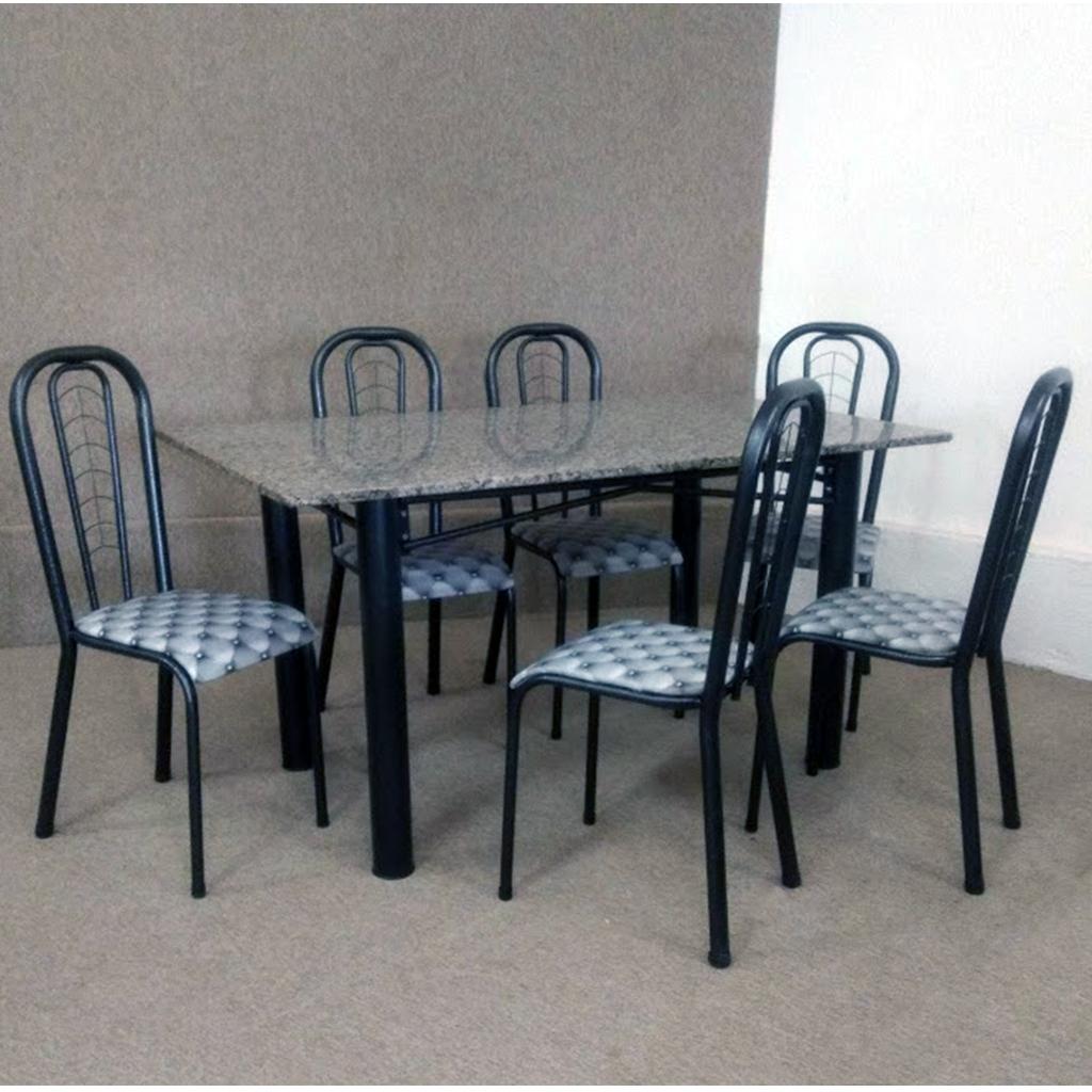 Conjunto Marazul Jometal Mesa com tampo Retangular em Granito 6 Cadeiras Preto