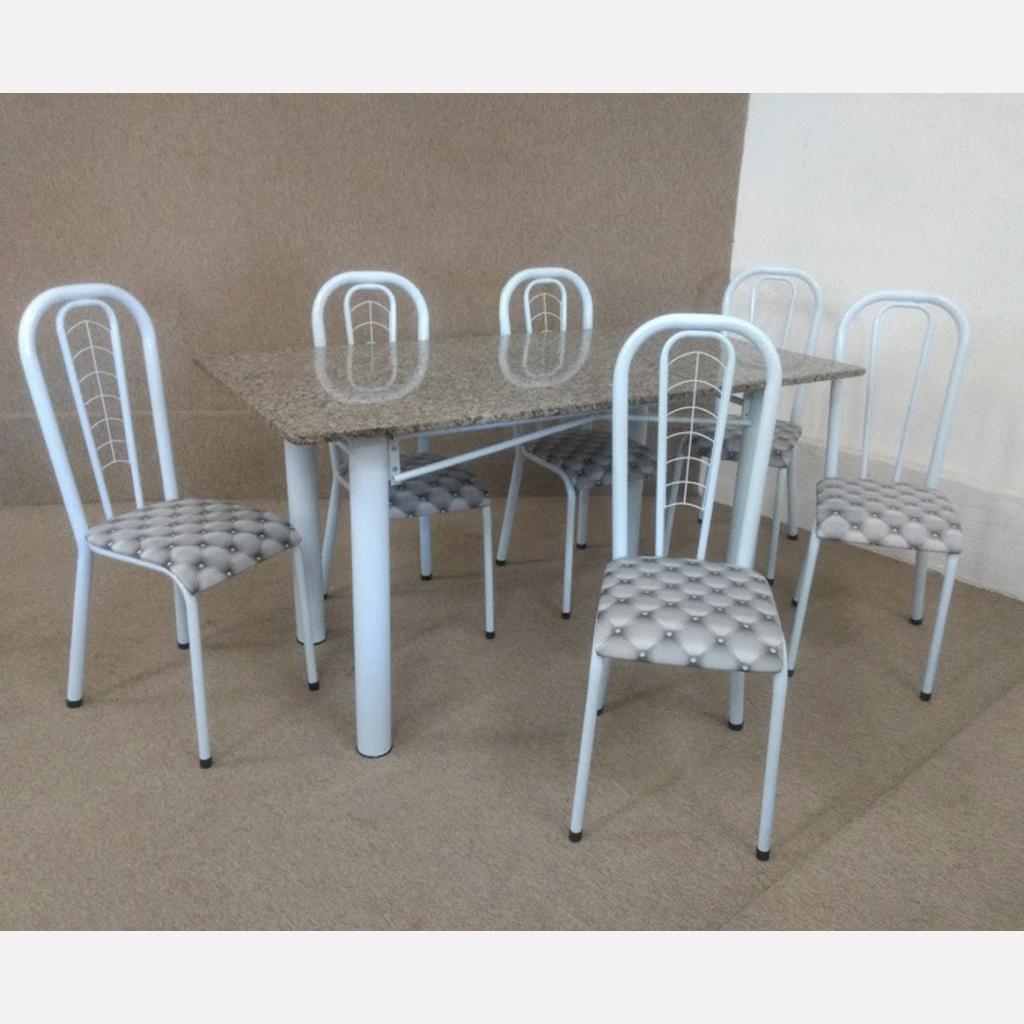 Conjunto Marazul Jometal Mesa com tampo Retangular em Granito 6 Cadeiras Branco