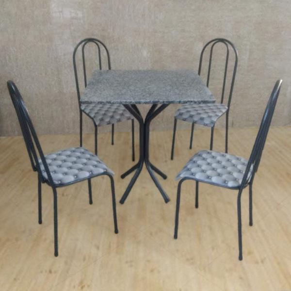Conjunto Pajuçara Jometal Mesa com tampo Quadrada em Granito 4 Cadeiras Branco