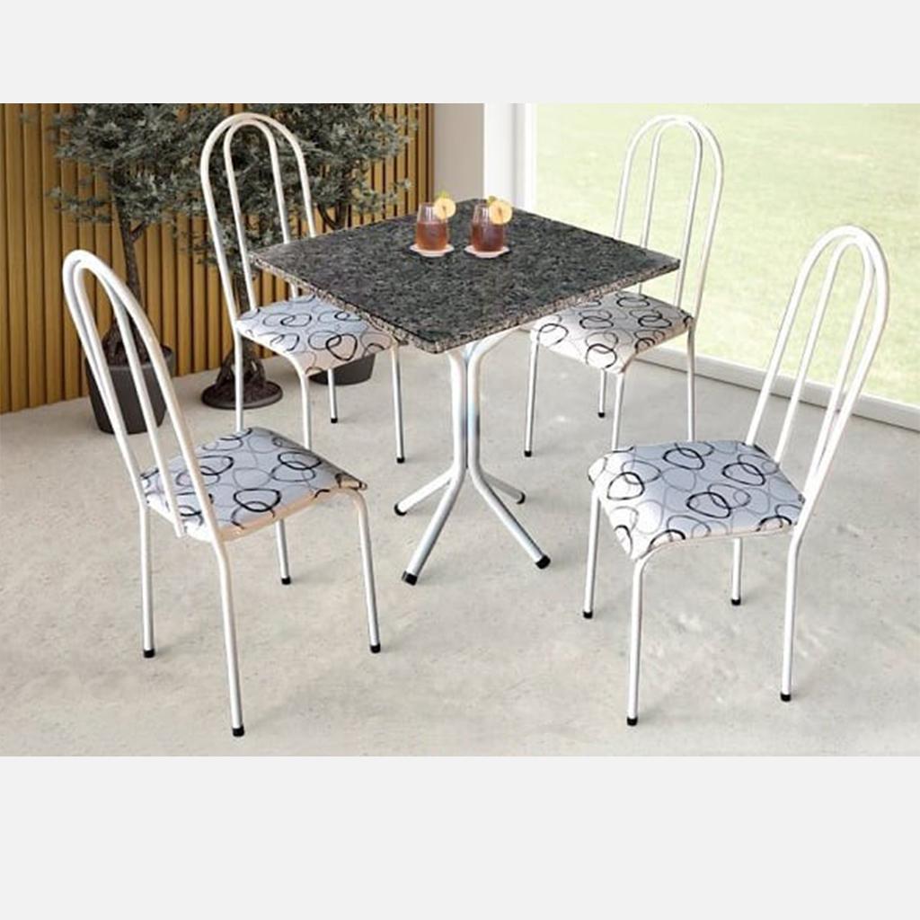 Conjunto Pajuçara Jometal Mesa com tampo quadrado em Granito 4 Cadeiras