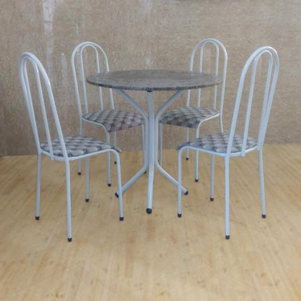 Conjunto Pajuçara Jometal Mesa com tampo Redonda em Granito 4 Cadeiras Branca