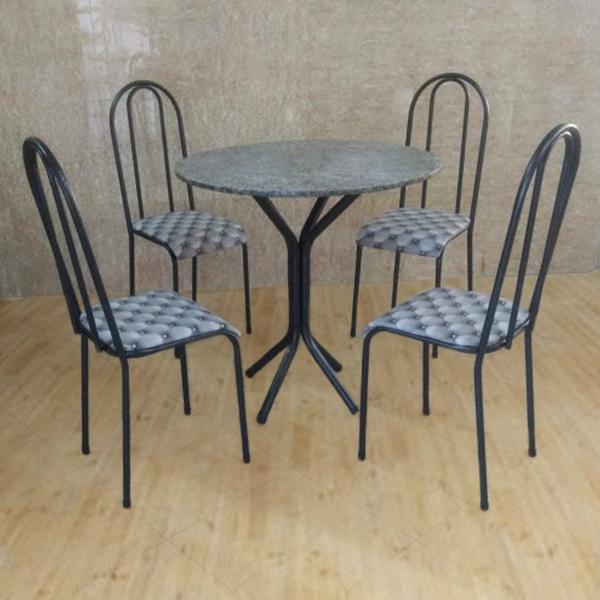 Conjunto Pajuçara Jometal Mesa com tampo Redonda em Granito 4 Cadeiras Preta