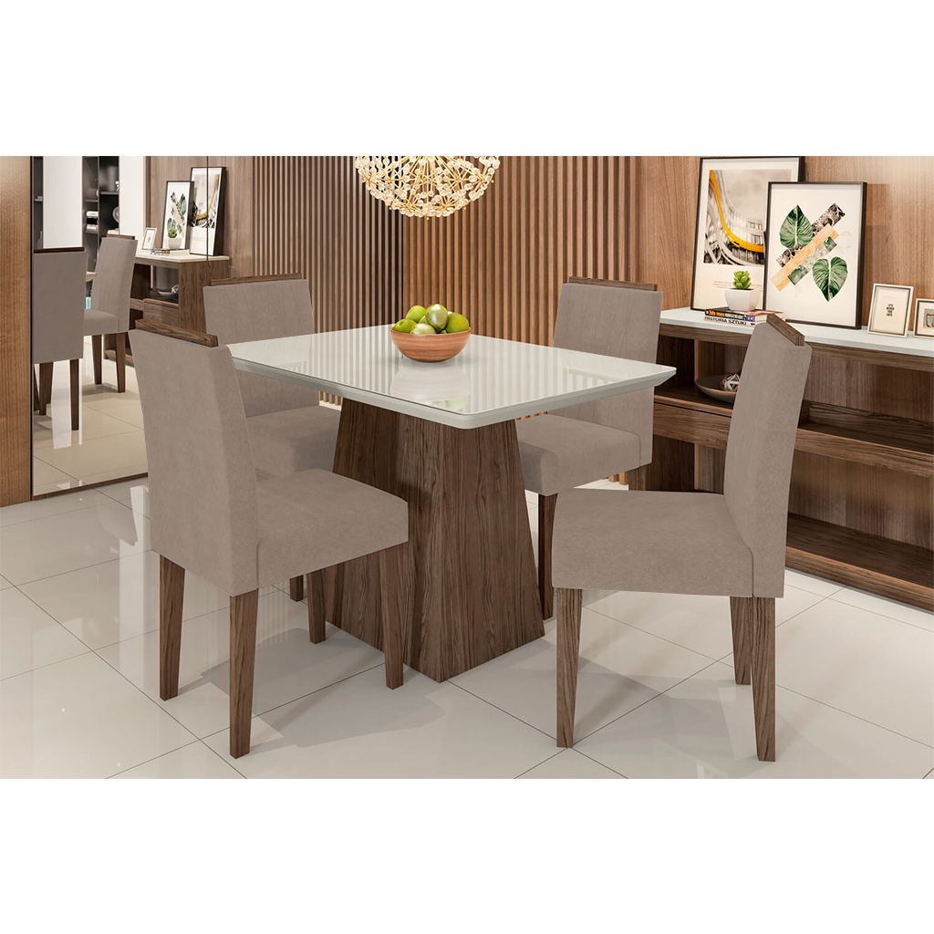 Conjunto Sala de Jantar Bárbara New Ceval 120cm 4 Cadeiras Ana Castanho
