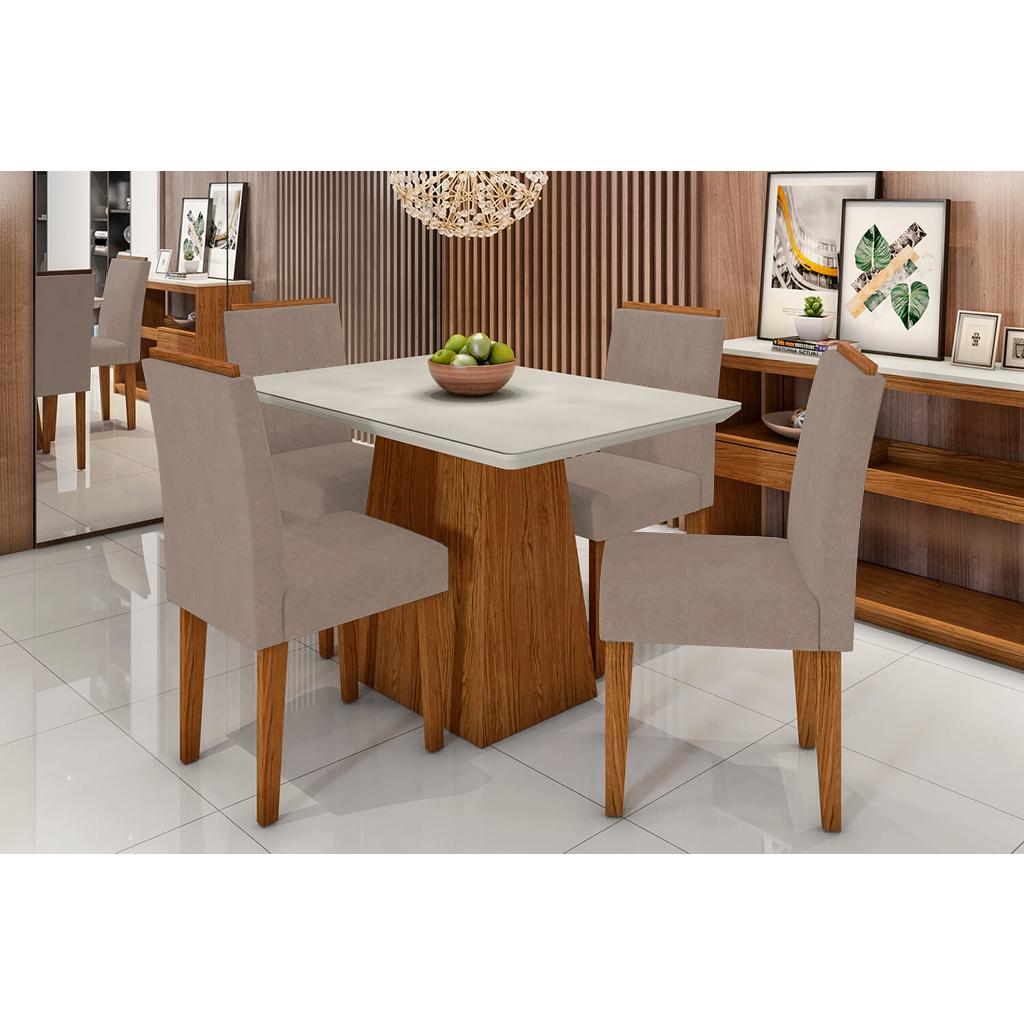 Conjunto Sala de Jantar Bárbara New Ceval 120cm 4 Cadeiras Ana Ypê